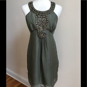 Milly Silk Dress in Dark Khaki Olive Green